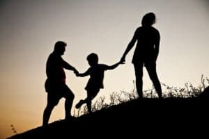 silhouette, family, landscape